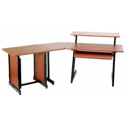 On Stage Stands WS7500RB Wooden Workstation, Rosewood/Black Steel